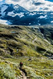 norwegen-wanderreise-wiesen-schnee-berge